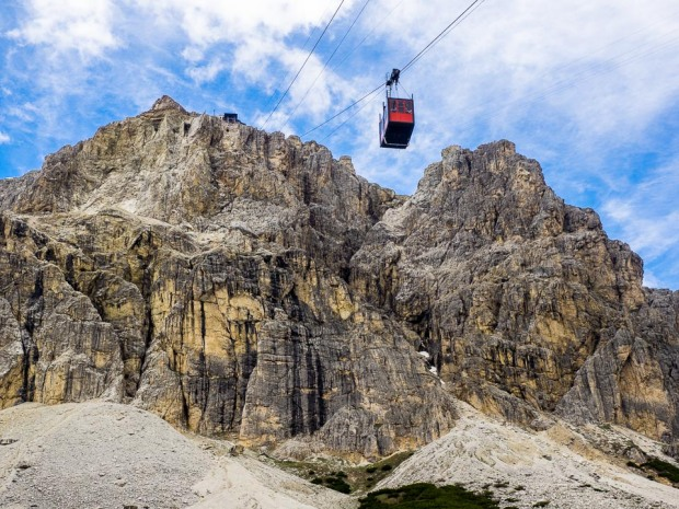 Cableway ascending to Lagazuoi mountain in the Dolomites