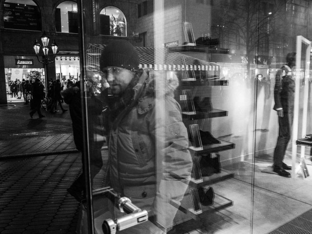 Man behind glass